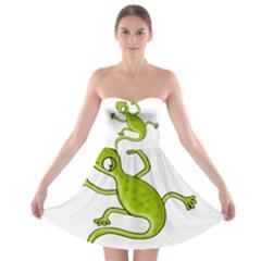 Green lizard Strapless Bra Top Dress