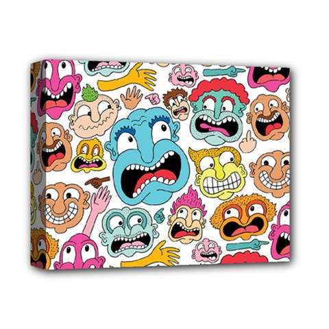 Weird Faces Pattern Deluxe Canvas 14  x 11
