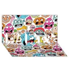Weird Faces Pattern Party 3d Greeting Card (8x4)