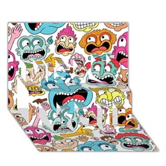 Weird Faces Pattern Miss You 3D Greeting Card (7x5)