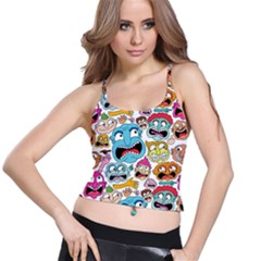 Weird Faces Pattern Spaghetti Strap Bra Top