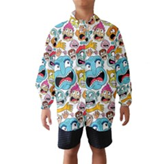Weird Faces Pattern Wind Breaker (Kids)