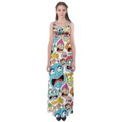 Weird Faces Pattern Empire Waist Maxi Dress