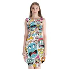Weird Faces Pattern Sleeveless Chiffon Dress