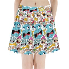 Weird Faces Pattern Pleated Mini Skirt