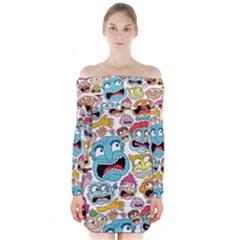 Weird Faces Pattern Long Sleeve Off Shoulder Dress