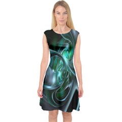 Ws Blue Green Float Capsleeve Midi Dress