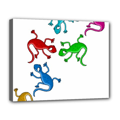 Colorful lizards Canvas 14  x 11