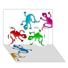 Colorful lizards I Love You 3D Greeting Card (7x5)