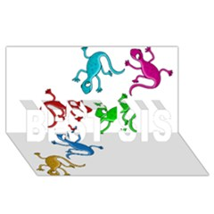 Colorful lizards BEST SIS 3D Greeting Card (8x4)