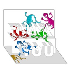Colorful lizards THANK YOU 3D Greeting Card (7x5)