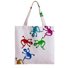 Colorful lizards Zipper Grocery Tote Bag