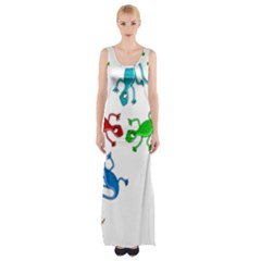 Colorful lizards Maxi Thigh Split Dress