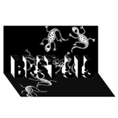 Black and white lizards BEST SIS 3D Greeting Card (8x4)