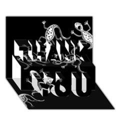 Black and white lizards THANK YOU 3D Greeting Card (7x5)