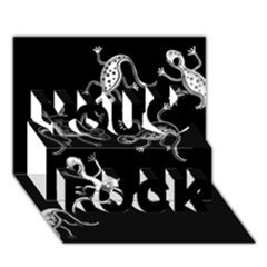 Black and white lizards You Rock 3D Greeting Card (7x5)