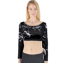 Black and white lizards Long Sleeve Crop Top