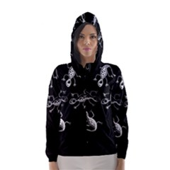 Black and white lizards Hooded Wind Breaker (Women)
