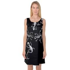 Black and white lizards Sleeveless Satin Nightdress