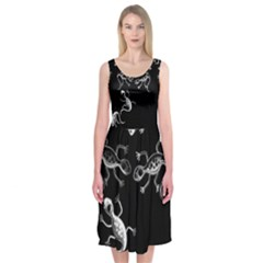 Black and white lizards Midi Sleeveless Dress