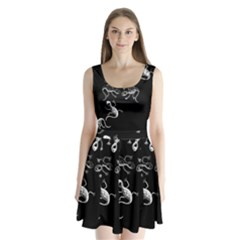Black And White Lizards Split Back Mini Dress