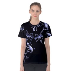 Blue decorative artistic lizards Women s Cotton Tee