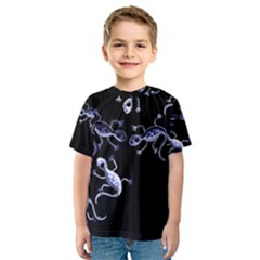 Blue decorative artistic lizards Kids  Sport Mesh Tee