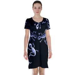 Blue decorative artistic lizards Short Sleeve Nightdress