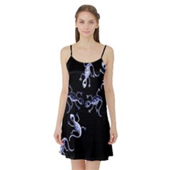 Blue decorative artistic lizards Satin Night Slip