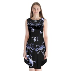 Blue Decorative Artistic Lizards Sleeveless Chiffon Dress