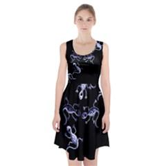 Blue decorative artistic lizards Racerback Midi Dress