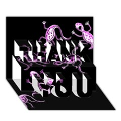 Purple lizards THANK YOU 3D Greeting Card (7x5)