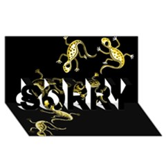 Yellow lizards SORRY 3D Greeting Card (8x4)