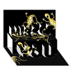 Yellow lizards Miss You 3D Greeting Card (7x5)