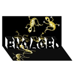 Yellow lizards ENGAGED 3D Greeting Card (8x4)
