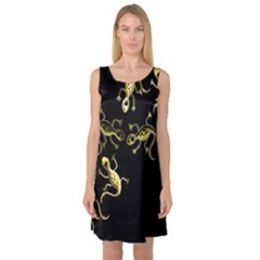 Yellow lizards Sleeveless Satin Nightdress