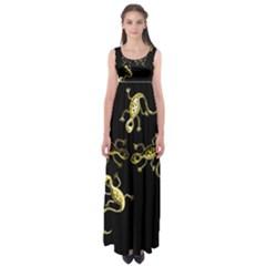 Yellow lizards Empire Waist Maxi Dress