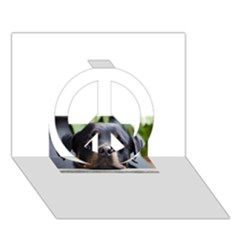 Rottweiler 2 Peace Sign 3D Greeting Card (7x5)