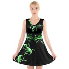 Green lizards V-Neck Sleeveless Skater Dress