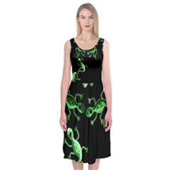 Green lizards Midi Sleeveless Dress