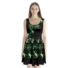 Green lizards Split Back Mini Dress