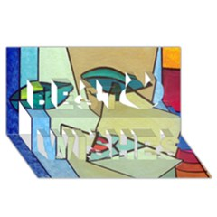 Abstract Art Face Best Wish 3D Greeting Card (8x4)