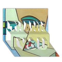 Abstract Art Face THANK YOU 3D Greeting Card (7x5)