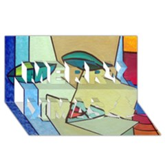 Abstract Art Face Merry Xmas 3D Greeting Card (8x4)