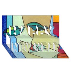 Abstract Art Face Happy New Year 3D Greeting Card (8x4)
