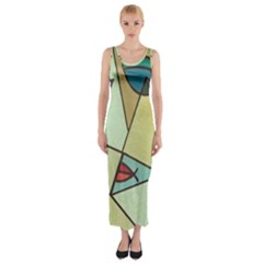 Abstract Art Face Fitted Maxi Dress