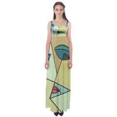 Abstract Art Face Empire Waist Maxi Dress