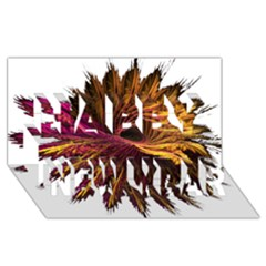 Abstract Fractal Happy New Year 3D Greeting Card (8x4)