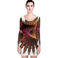 Abstract Fractal Long Sleeve Velvet Bodycon Dress
