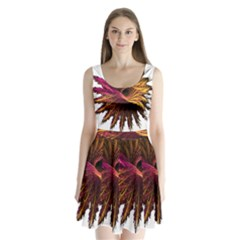 Abstract Fractal Split Back Mini Dress
